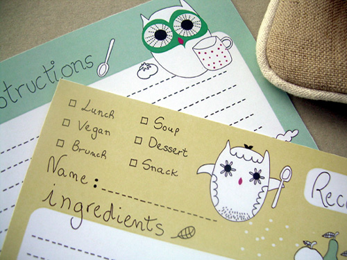 My Owl Barn Owl Recipe Cards