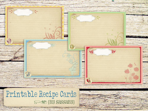 Free Printable Recipe Cards  Home Cooking Memories