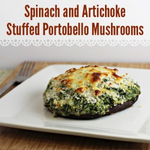 Spinach and Artichoke Stuffed Portobello Mushrooms