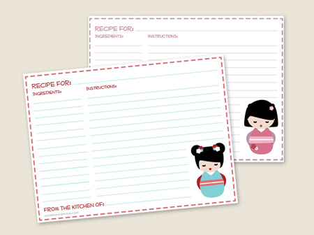 creative mamma-kokeshi doll recipe cards