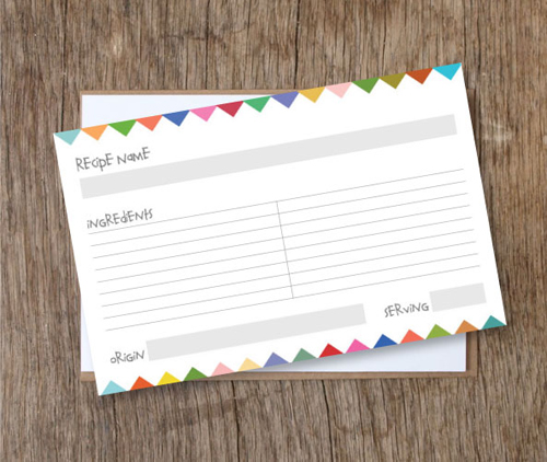 heartmade blog - bunting flags recipe cards