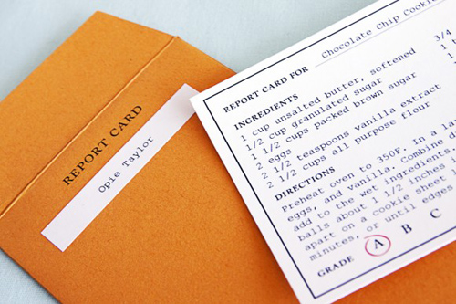the sweetest occasion - report card recipe cards