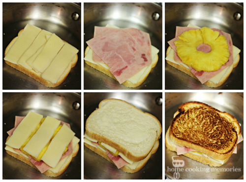 How to Make Grilled Cheese Sandwich  (with pineapple and ham)