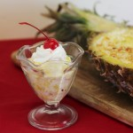 Pina Colada Frozen Dessert in a Pineapple