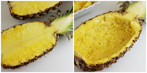 Pineapple, cut in half