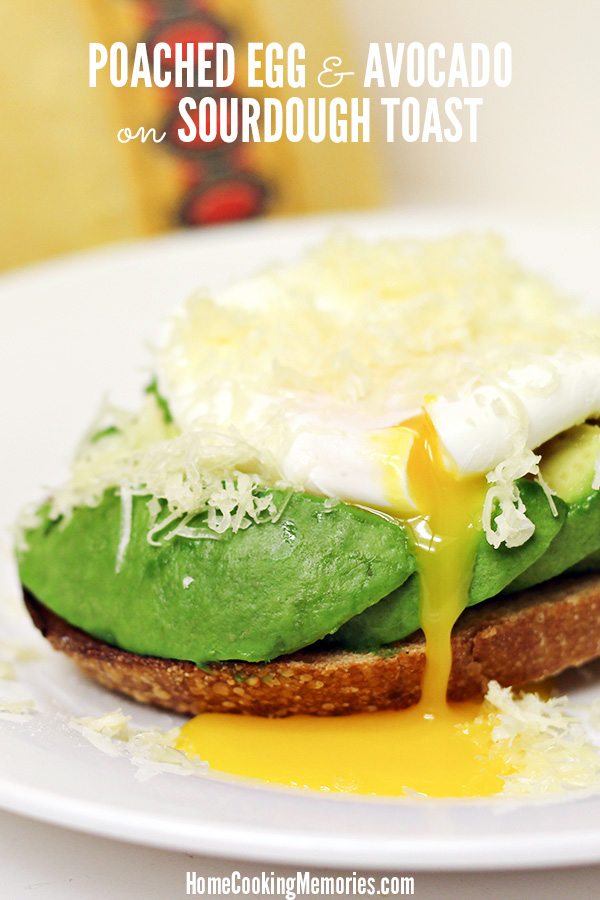 This Poached Egg and Avocado on Sourdough Toast Recipe is an easy breakfast recipe featuring a perfectly poached egg nestled on top of sliced avocado and sourdough toast. The final touch is a sprinkle of finely shredded Jarlsberg Cheese. So good that you'll crave it constantly!