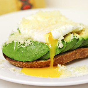 Poached Egg and Avocado on Sourdough Toast with Jarsberg Cheese Recipe