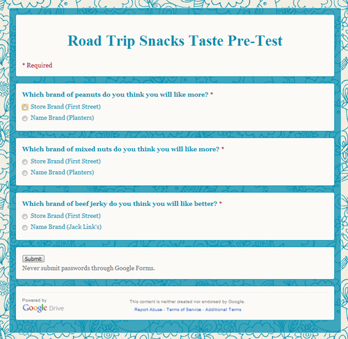 Road Trip Snacks Taste Test: Pre-Test