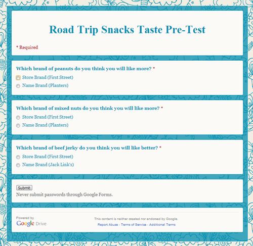 Road Trip Snacks Taste Test: Pre-Test