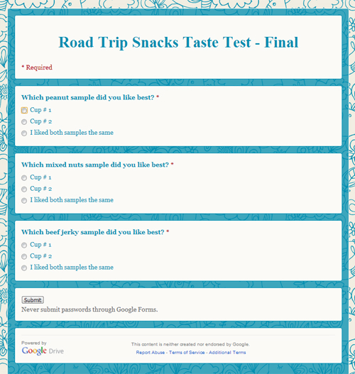 Road Trip Snacks Taste Test: Final Questionaire