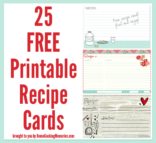 Here Is Another Round Up Of 25 FREE Recipe Card Printables.  Free Recipe Templates
