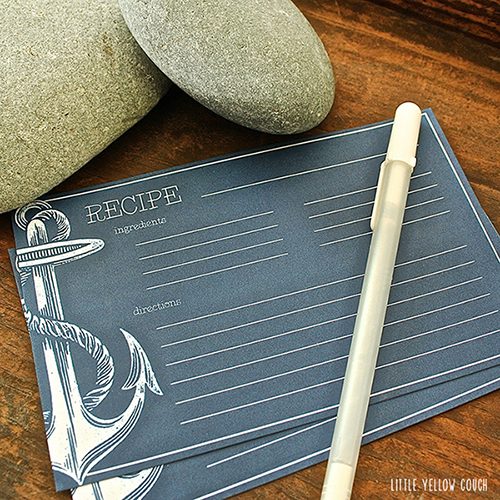 Anchor Recipe Cards by Little Yellow Couch