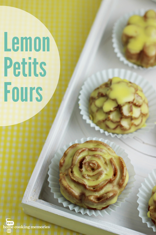 Lemon Petits Fours -- delightful little lemon cakes with a lemon sugar glaze. A perfect dessert to enjoy after a lovely Mother's Day dinner, or to enjoy at showers or tea parties.