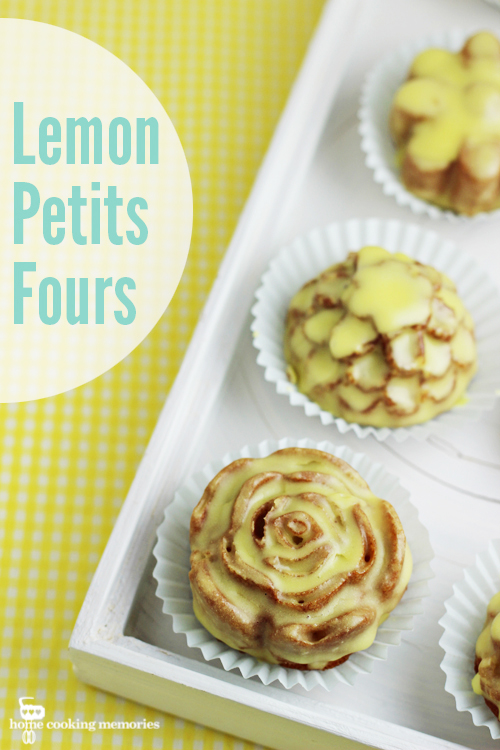 Lemon Petits Fours Recipe - delightful little lemon cakes with lemon glaze. Perfect for Mother's Day, baby showers, bridal showers, tea parties, and more!