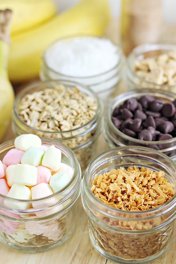 Toppings for Grilled Banana Dessert Bar
