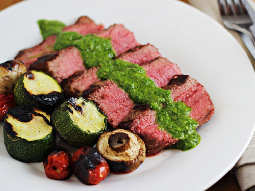 Grilled Steaks with Chimichurri Sauce