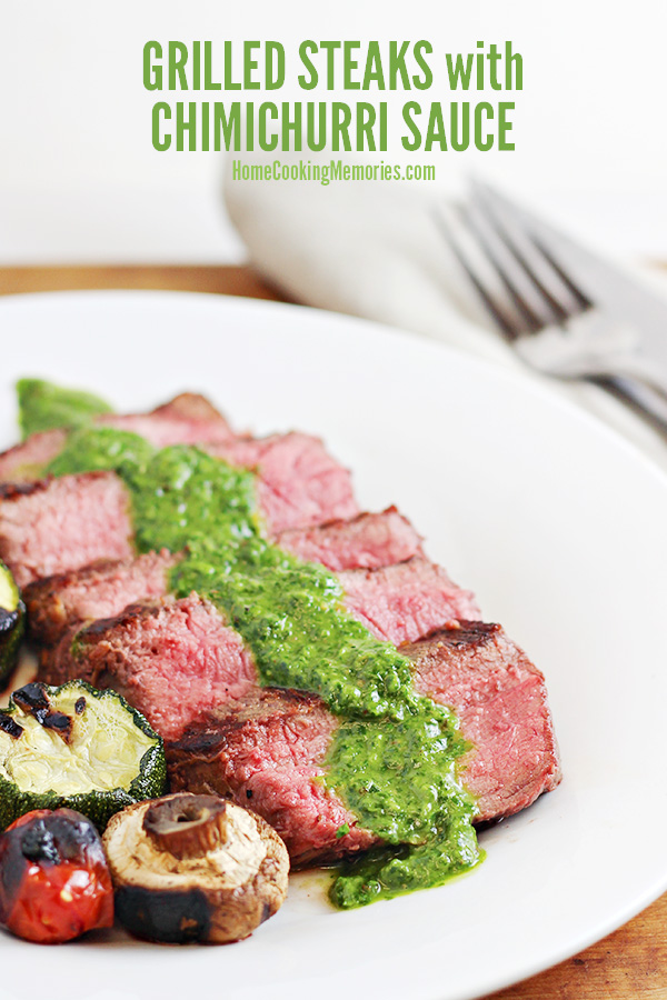This Grilled Steak with Easy Chimichurri Sauce recipe is perfect summer cookouts & grilling. The Chimichurri Sauce takes only minutes to make - it's a delicious sauce that is excellent with your favorite grilled steak.