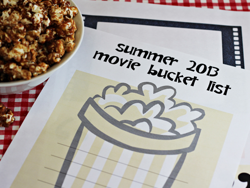 Movie Night Bucket List and Peanut Butter and Jelly Popcorn Recipe
