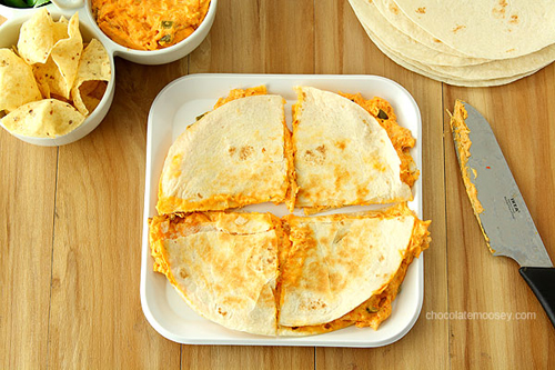 Buffalo Chicken Dip Quesadillas by Chocolate Moosey