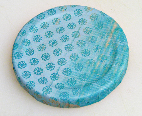 How to Make Pretty Lids for Old Jars: Lid covered with Scrapbook Paper