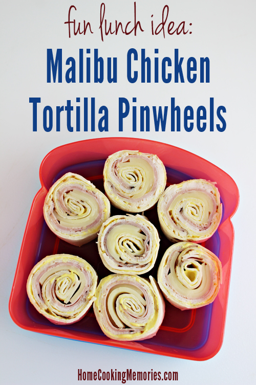 Malibu Chicken Tortilla Pinwheels -- a fun lunch idea that is a great alternative to traditional sandwiches. Inspired by the Malibu Chicken entree at Sizzler restaurants.