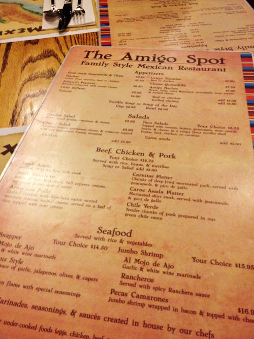 The Amigo Spot - Menu