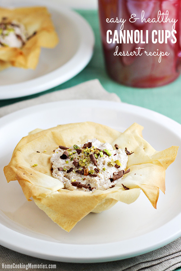 These Easy Cannoli Cups are a simple, yet elegant, dessert with less than 100 calories per serving! The cups are made with phyllo dough and then filled with a delicious ricotta filling. It's perfect for anyone that wants a hassle-free, healthier dessert that looks beautiful.