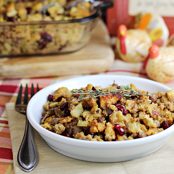 Thanksgiving Side Dish - Cornbread Sausage Stuffing with Leeks Apples Cranberries
