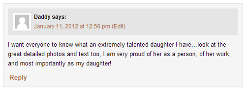My Dad's comment on my blog