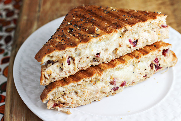 Turkey Salad Panini with Cranberries and Pecans