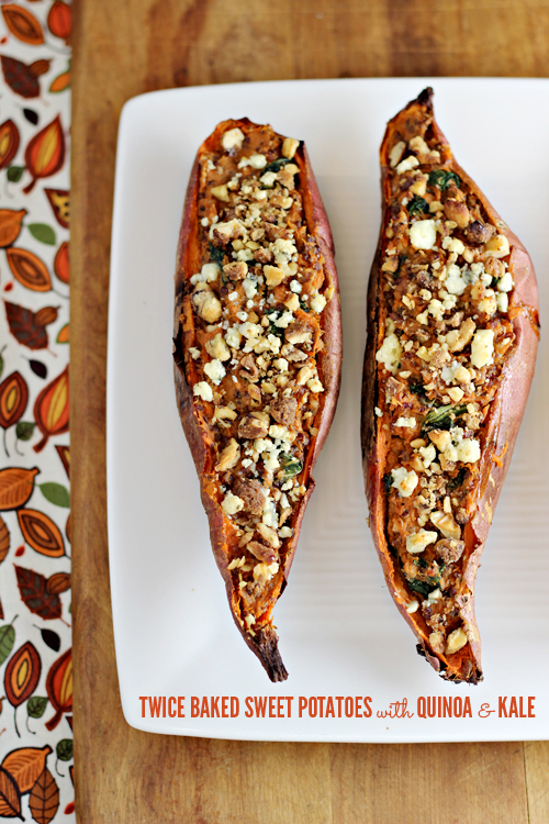 Twice Baked Sweet Potatoes with Quinoa and Kale
