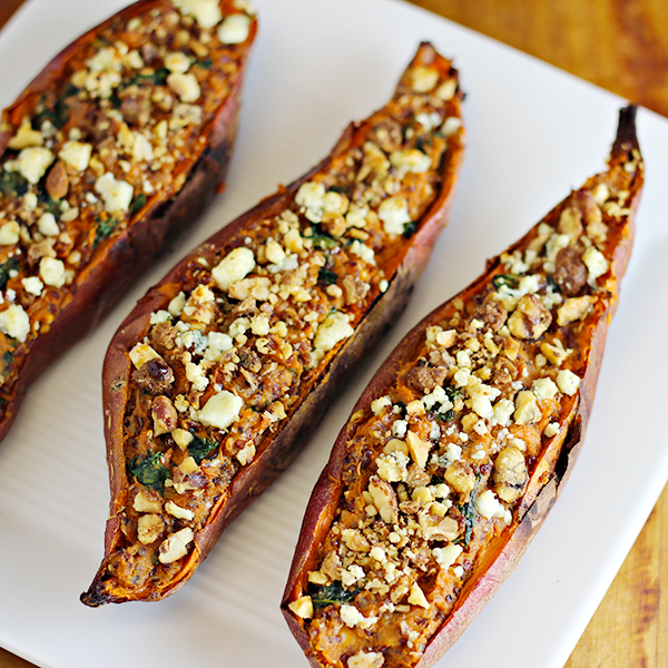 Twice Baked Sweet Potatoes with Quinoa and Kale recipe