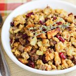 Cornbread Sausage Stuffing Recipe with Apples and Cranberries for Thanksgiving Dinner