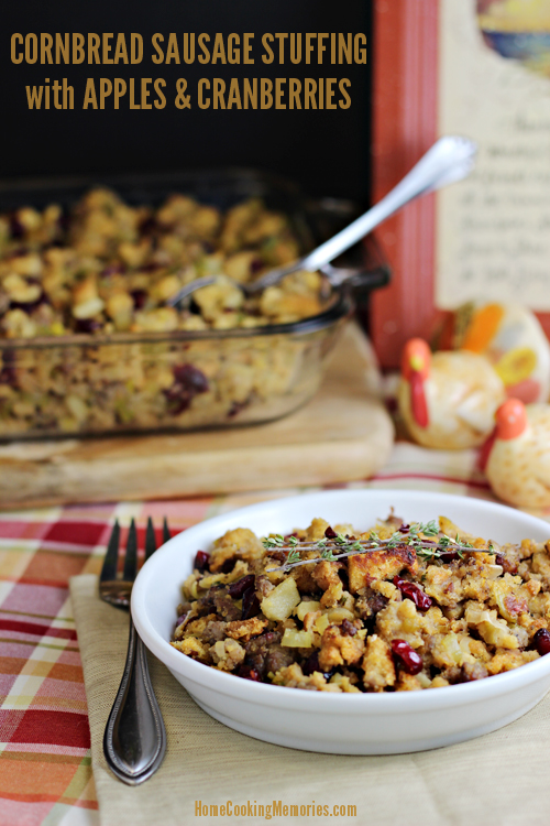 Cornbread Sausage Stuffing with Apples and Cranberries #shop #cbias