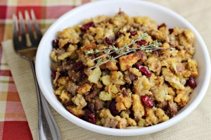 Cornbread Sausage Stuffing with Leeks Apples Cranberries 10