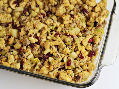 Cornbread Sausage Stuffing with Leeks Apples Cranberries #shop #cbias