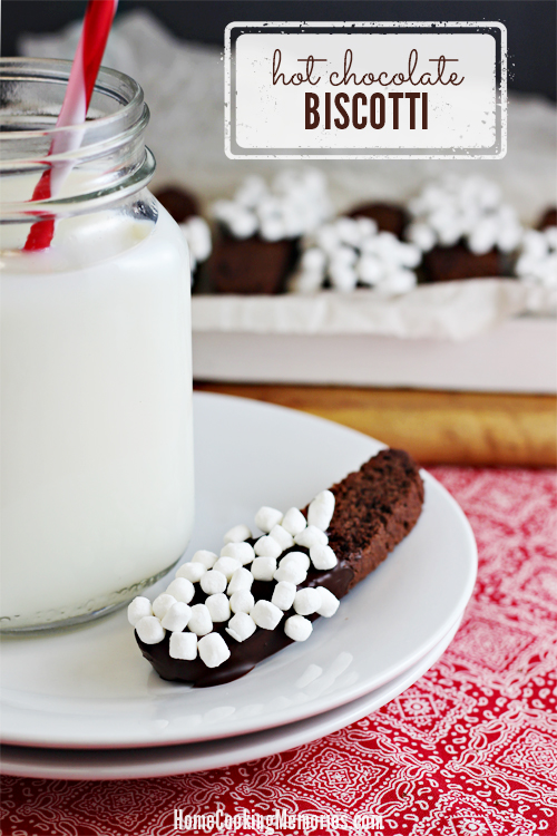Hot Chocolate Biscotti -- a crisp cookie decorated with plenty of tiny marshmallows. Perfect for dunking in a glass of milk or cup of hot cocoa