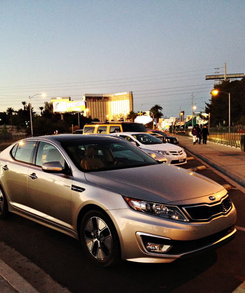 2013 Kia Optima Hybrid at Las Vegas Sign