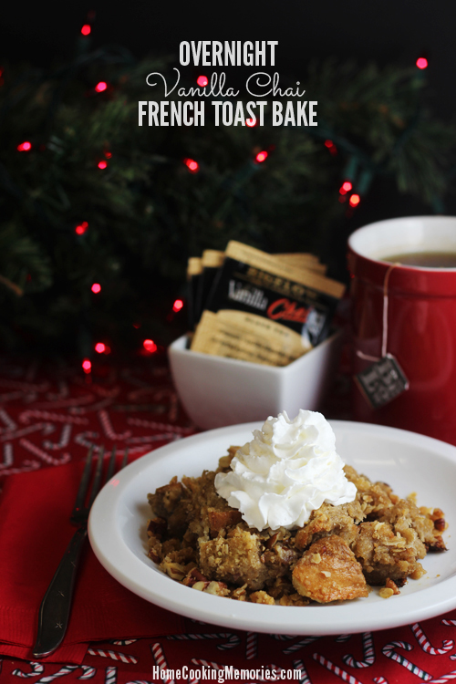 Overnight Vanilla Chai French Toast Bake #AmericasTea #shop #cbias