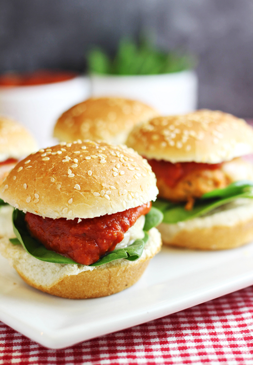 Chicken Parmesan Sliders -- little sandwiches that are easy-to-make, healthy, and packed full of flavor!