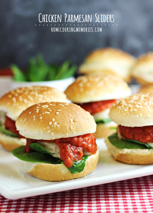 Chicken Parmesan Sliders shared by Home Cooking Memories at the Clever Chicks Blog Hop