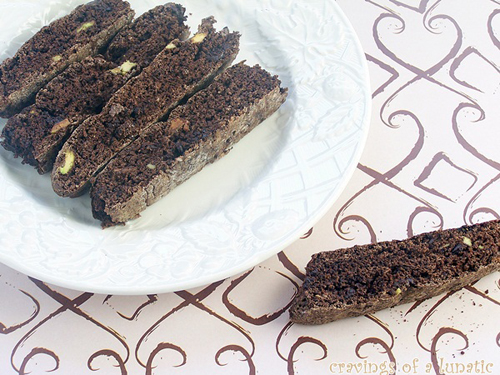 Chocolate Brownie Pistachio Biscotti from Cravings of a Lunatic