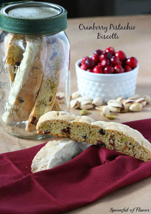 Cranberry Pistachio Biscotti from Spoonful of Flavor
