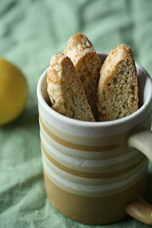 Lemon, Ginger and Pistachio Biscotti from Crumb