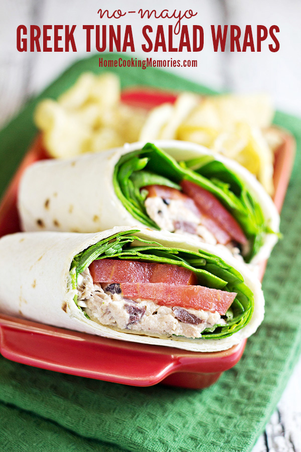 This no-mayo Greek Tuna Salad Wrap recipe features Greek yogurt, kalamata olives, feta cheese, and more for a healthy lunch that you'll want everyday!