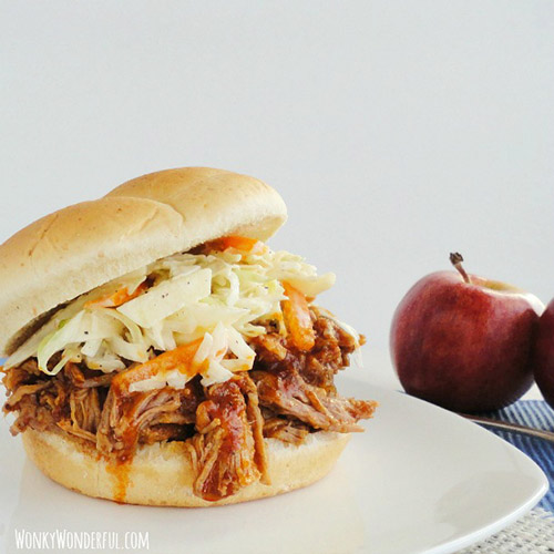 Slow Cooker Apple Barbecue Pulled Pork Sandwich by Wonky Wonderful