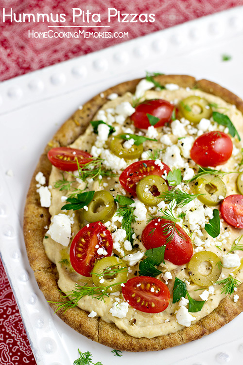 Hummus Pita Pizzas are a quick and easy meatless dinner idea that ...