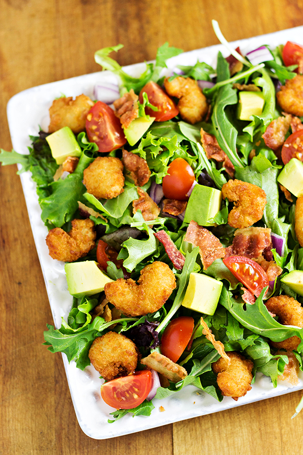 Popcorn Shrimp Salad Recipe with Avocado and Bacon