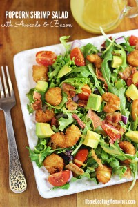 Popcorn Shrimp Salad with Avocado and Bacon