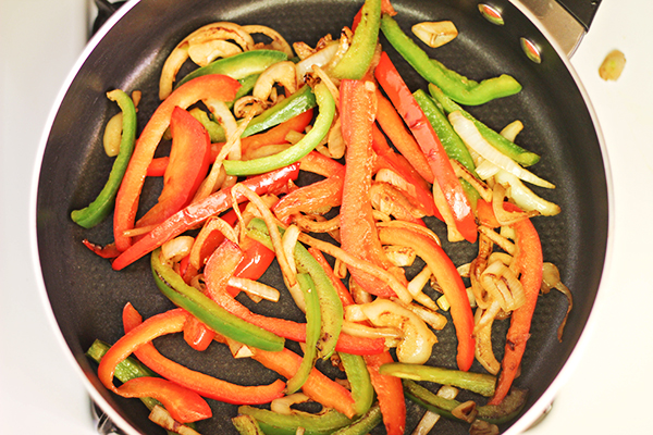 Easy Breakfast Fajita Pitas Recipe - Sauteed Bell Peppers and Onions